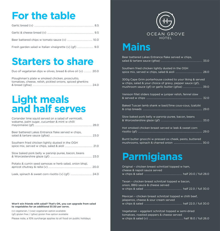 Bar & Bistro Menu